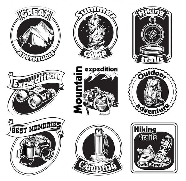 Conjunto de insignias de turismo al aire libre