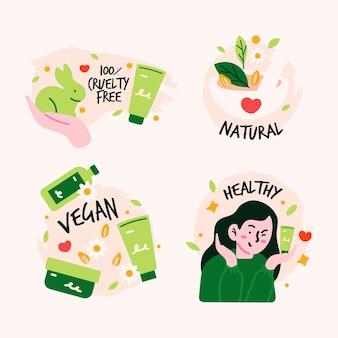 Conjunto de insignias veganas y libres de crueldad dibujadas.