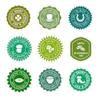 Conjunto de insignias verdes vintage de san patricio.