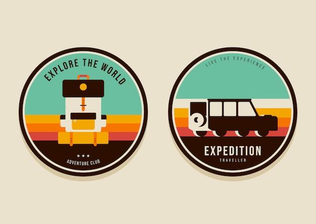 Conjunto de insignias de viaje de verano y explore el concepto de mundo estilo retro vintage moderno