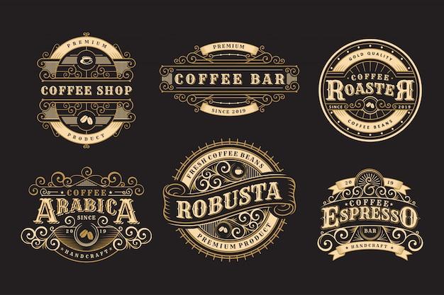 Conjunto de insignias vintage café, cafetería y emblemas.