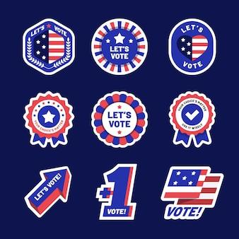 Conjunto de insignias de votación de estados unidos