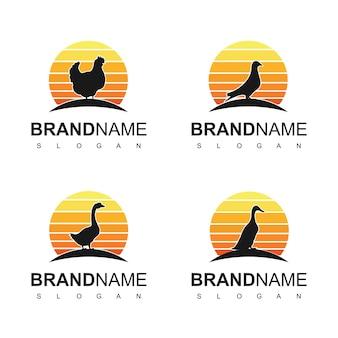 Conjunto de inspiración de diseño de logotipo de aves de corral