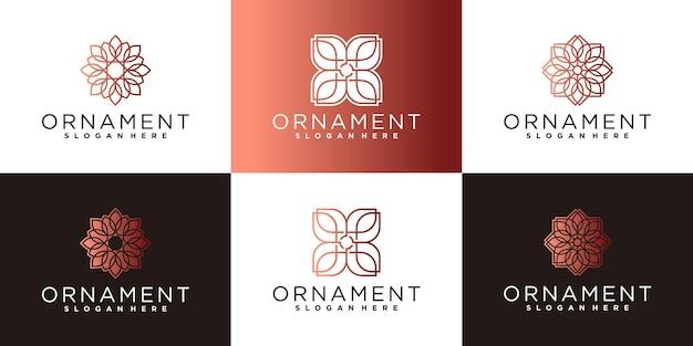 Conjunto de inspiración de diseño de logotipo de flor de adorno vector premium