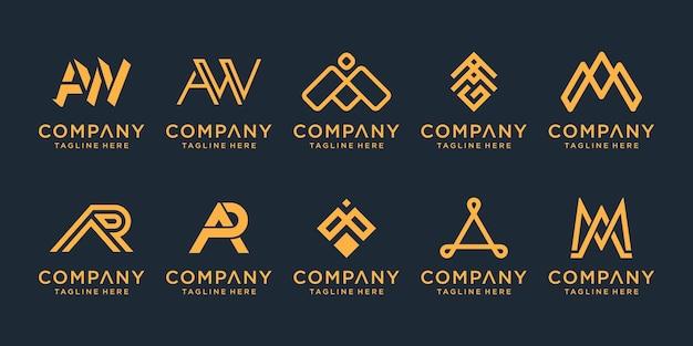 Conjunto de inspiración de diseño de logotipo de monograma de letra dorada creativa