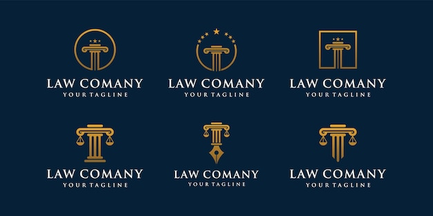 Conjunto de inspiración de diseños de icono de logotipo de pilares. logo