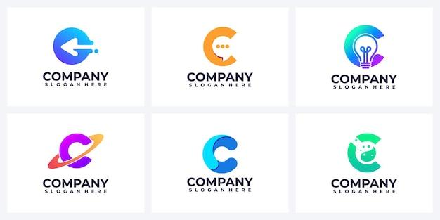 Conjunto de inspiración del logotipo de la letra c abstracta moderna
