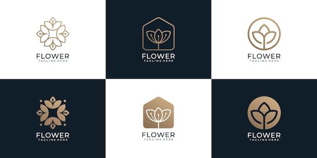 Conjunto de inspiración minimalista del concepto de logotipo de spa de belleza de flores