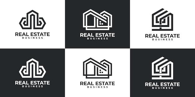 Conjunto de inspiración moderna para el logotipo de bienes raíces.