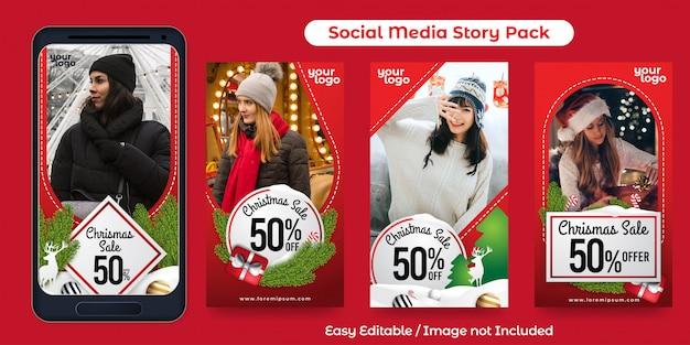 Conjunto de instagram story para promoción de eventos navideños
