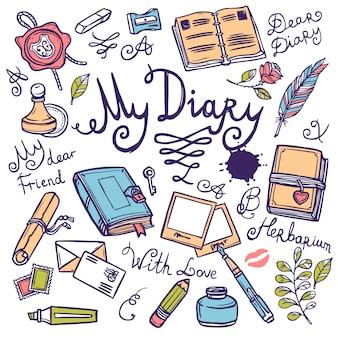 Conjunto de instrumentos de escritura de diario