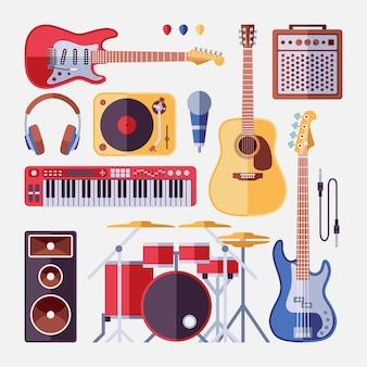 Conjunto de instrumentos musicales de banda de rock