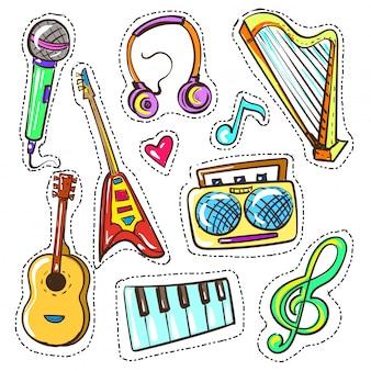 Conjunto de instrumentos musicales de color dibujado a mano de vector