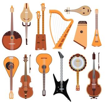 Conjunto de instrumentos musicales de cuerda, herramienta de sonido de arte de orquesta clásica y equipo de madera de violín de cuerda sinfónica acústica