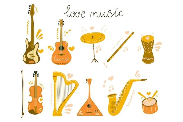 Conjunto de instrumentos musicales dibujados a mano y texto amor música plana