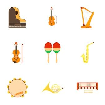 Conjunto de instrumentos musicales, estilo plano
