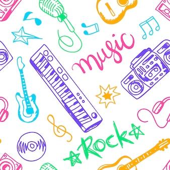 Conjunto de instrumentos musicales, iconos planos ilustraciones y elementos de patrones sin fisuras