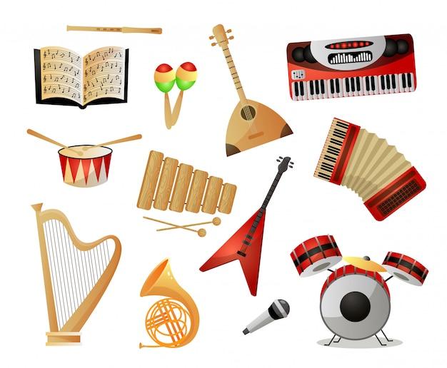 Conjunto de instrumentos musicales modernos o antiguos para la escuela o la universidad.