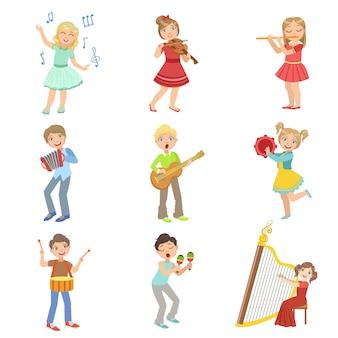 Conjunto de instrumentos musicales para niños cantando y tocando