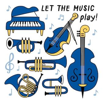 Conjunto con instrumentos musicales.