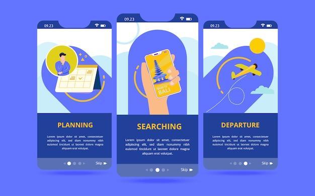 Un conjunto de interfaces de usuario de pantalla con un icono de preparación antes de viajar