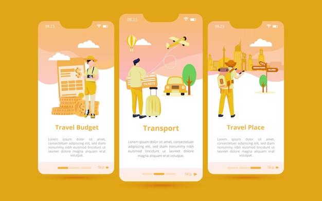 Un conjunto de interfaces de usuario de pantalla con ilustraciones de preparación para viajar