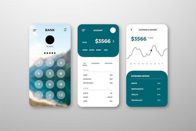 Conjunto de interfaz de la aplicación bancaria