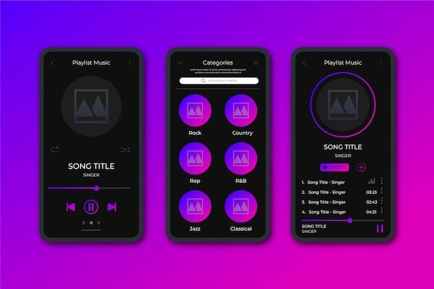 Conjunto de interfaz de la aplicación del reproductor de música