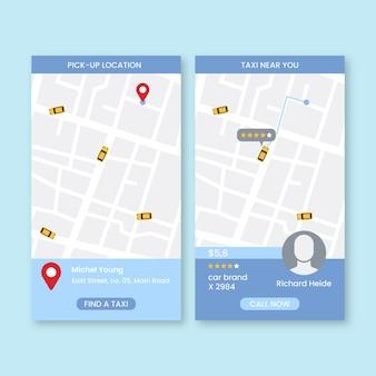 Conjunto de interfaz de la aplicación de taxi