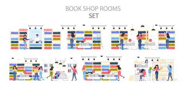 Conjunto interior de librería. gente eligiendo y comprando literatura. estantes con libros. ilustración.