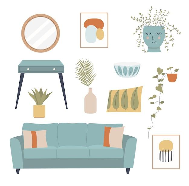 Conjunto interior. sala de estar acogedora. ilustración de dibujos animados plana.