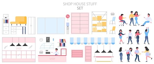 Conjunto interior de tienda vacía. mostrador, estanterías y exposición. visitantes en la tienda. clientes que compran bienes. ilustración