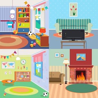 Conjunto de interiores de casas
