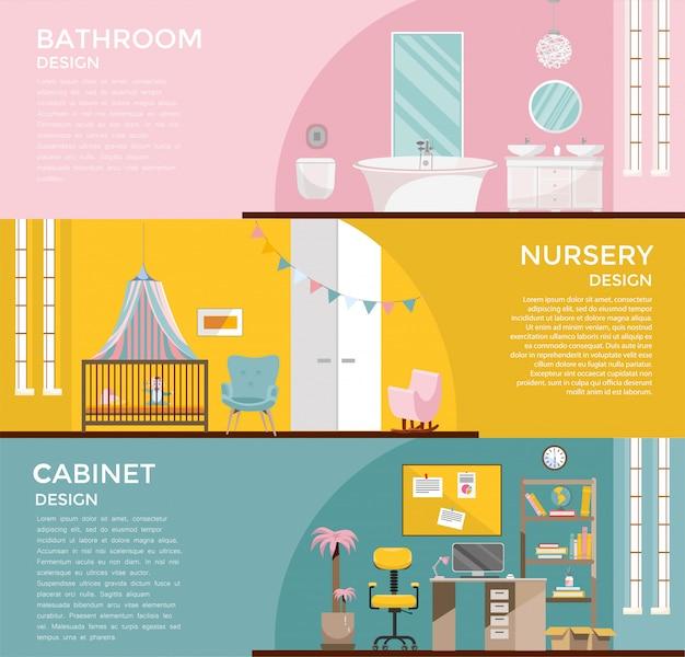 Conjunto de interiores coloridos de la sala de baño con vivero con dosel, armario, oficina en el hogar con escritorio, sala de gabinetes en el lugar de trabajo.3 banners con muebles para el hogar. ilustración de dibujos animados plana