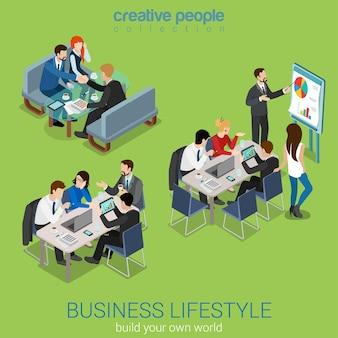 Conjunto de interiores de concepto de negociación de intercambio de ideas de trabajo en equipo de colaboración empresarial informe de sala de reuniones de oficina isométrica plana. hombres de negocios alrededor de la mesa. colección de personas creativas
