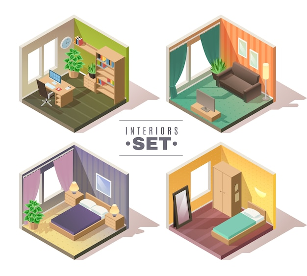 Conjunto de interiores isométricos. conjunto de cuatro habitaciones interiores residenciales isométricas gabinete dormitorio sala de niños sala sobre fondo blanco.