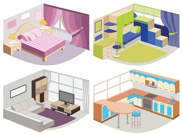 Conjunto de interiores modernos.