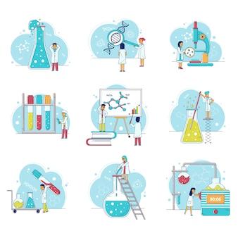 Conjunto de investigación de laboratorio con científicos hombre y mujer, microscopio, matraces, personas en laboratorio de química.