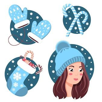 Conjunto de invierno en color azul de manoplas, calcetines navideños, caramelos y mujer con gorro de lana.
