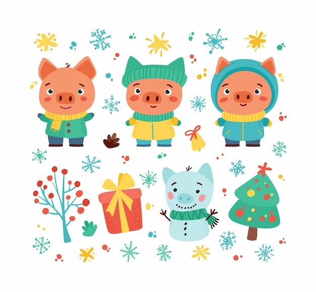 Conjunto de invierno con lindos lechones y juguetes navideños.