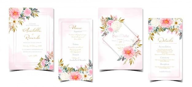 Conjunto de invitación de boda abstracta con flores de colores