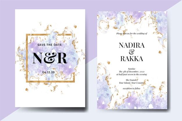 Conjunto de invitación de boda de acuarela abstracta splash azul oro invierno