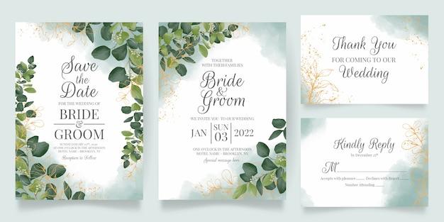 Conjunto de invitación de boda en acuarela con decoración de hojas