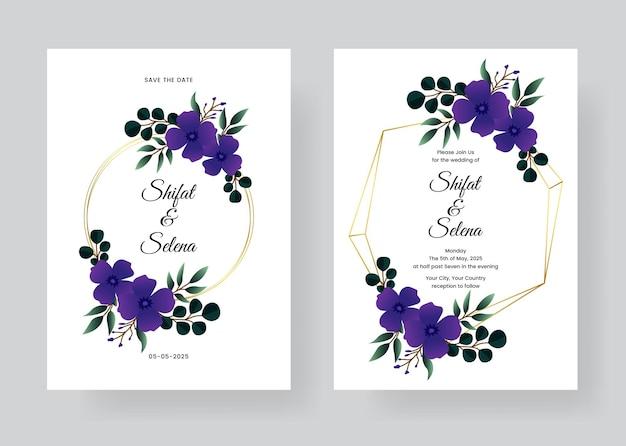 Conjunto de invitación de boda en acuarela con splash azul y hermosas hojas