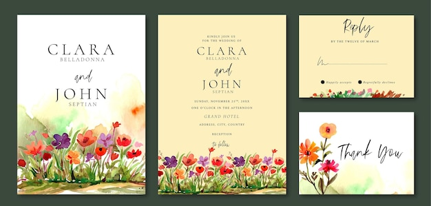 Conjunto de invitación de boda de acuarelas florales en el jardín