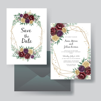 Conjunto de invitación de boda de belleza rosa roja púrpura y amarilla