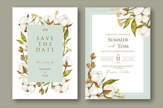 Conjunto de invitación de boda con flor de algodón acuarela