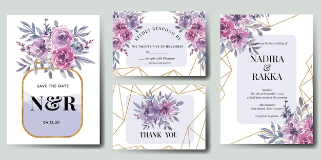Conjunto de invitación de boda floral acuarela rosa flor morada oro