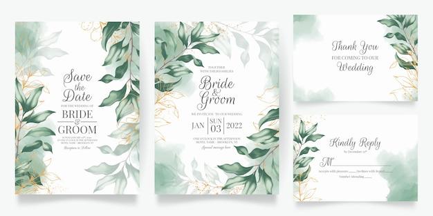 Conjunto de invitación de boda floral acuarela