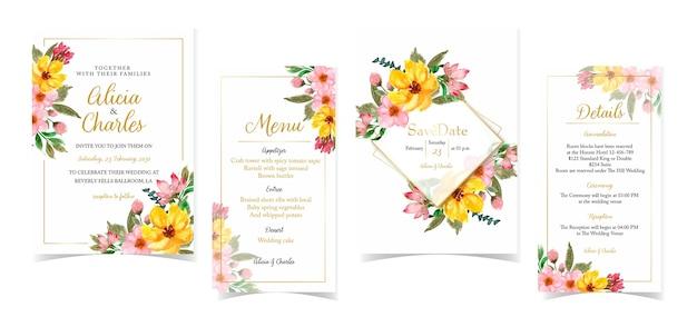 Conjunto de invitación de boda floral amarillo y rojo romántico